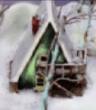 The image of the house is based on an architect's maquette of the A-Frame house in Maine where Jane and Nini lived for a while