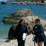 Alison McMahan & Pam Scott on set of Last Summer at Bluefish Cove
